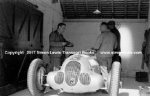 Mercedes W125 Von Brausitch's car. Photo in paddock garage 1937 Donington GP